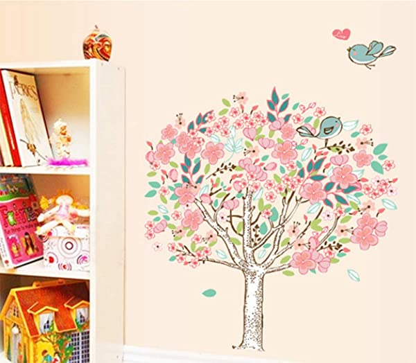 Lodintech Wall Stickers Flower Tree Wall Decals Birds Art Stickers Peel And Stick Removable Wall Sticker Colorful Wall Art Stickers For Girl Kids Room Decor