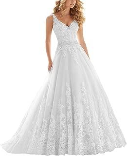 OWMAN Lace V Neck Wedding Dress Beaded Bridal Dresses Appliques Straps Wedding Gown