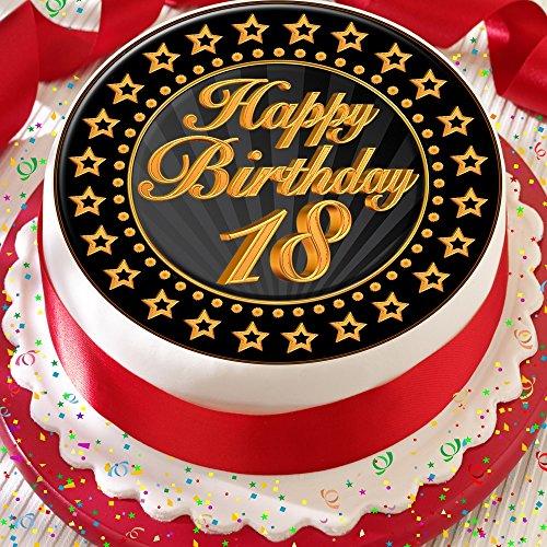 Cannellio Cakes Tortenaufleger aus Zuckerguss, vorgeschnitten und vollständig essbar, zum 18. Geburtstag, goldfarben und schwarz, 19,1cm, 2198
