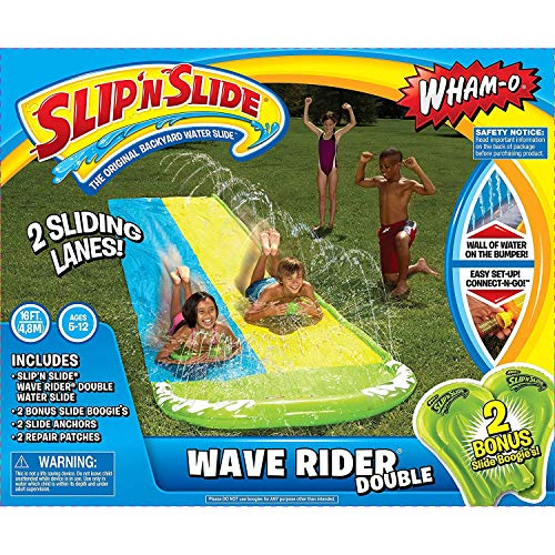 Wham-O Unisex-Youth Slip n Slide Wave Rider Double 16ft Boogie, Yellow & Blue, 1