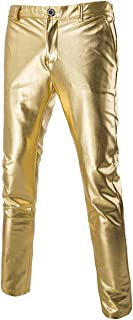 Mens Casual Night Club Metallic Moto Jeans Style Flat Front Suit Pants Straight Leg Trousers Disco