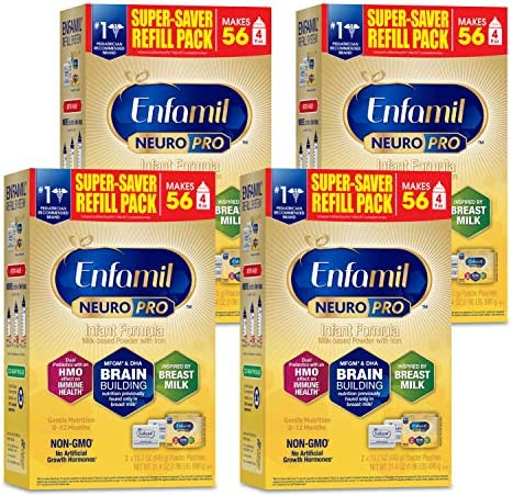 Enfamil NeuroPro Baby Formula, Brain and Immune Support with DHA, Iron and Prebiotics, Infant Formula Inspired by Breast Milk, Non-GMO, Refill box, 31.4 Oz (Pack of 4)