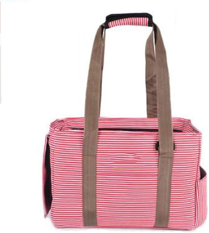 Pet Bag Summer Portable Cat Backpack Dog Canvas Bag Breathable Small Dog Single Shoulder Bag Red Stripes