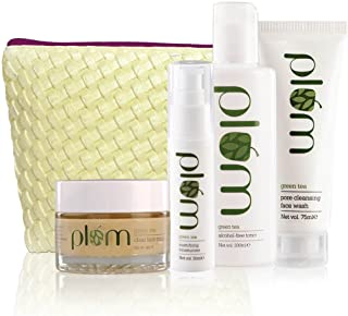 Plum Unisex Green Tea Face Care Kit | For Oily, Acne Prone Skin | Green Tea Extracts | Clear, Oil-Free Skin | 100% Vegan, ...