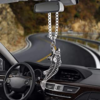 Jesus Crucifix Cross Ox Head Bull Cool Car Pendant Charms Alloy Rearview Mirror Decoration Hanging Automobiles Decor Ornaments Accessories Gifts Brooches Key Chains (Bone of Fish)