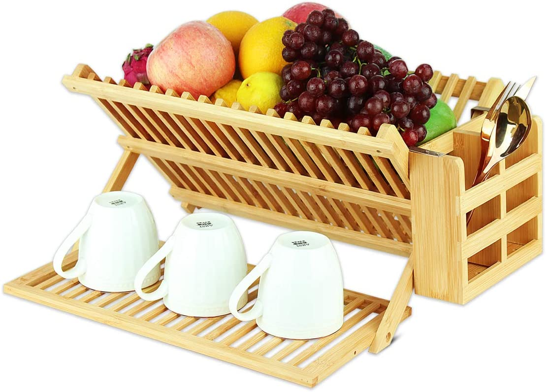 Bamboo Dish Drying Rack with Utensil Holder, Collapsible Wooden
