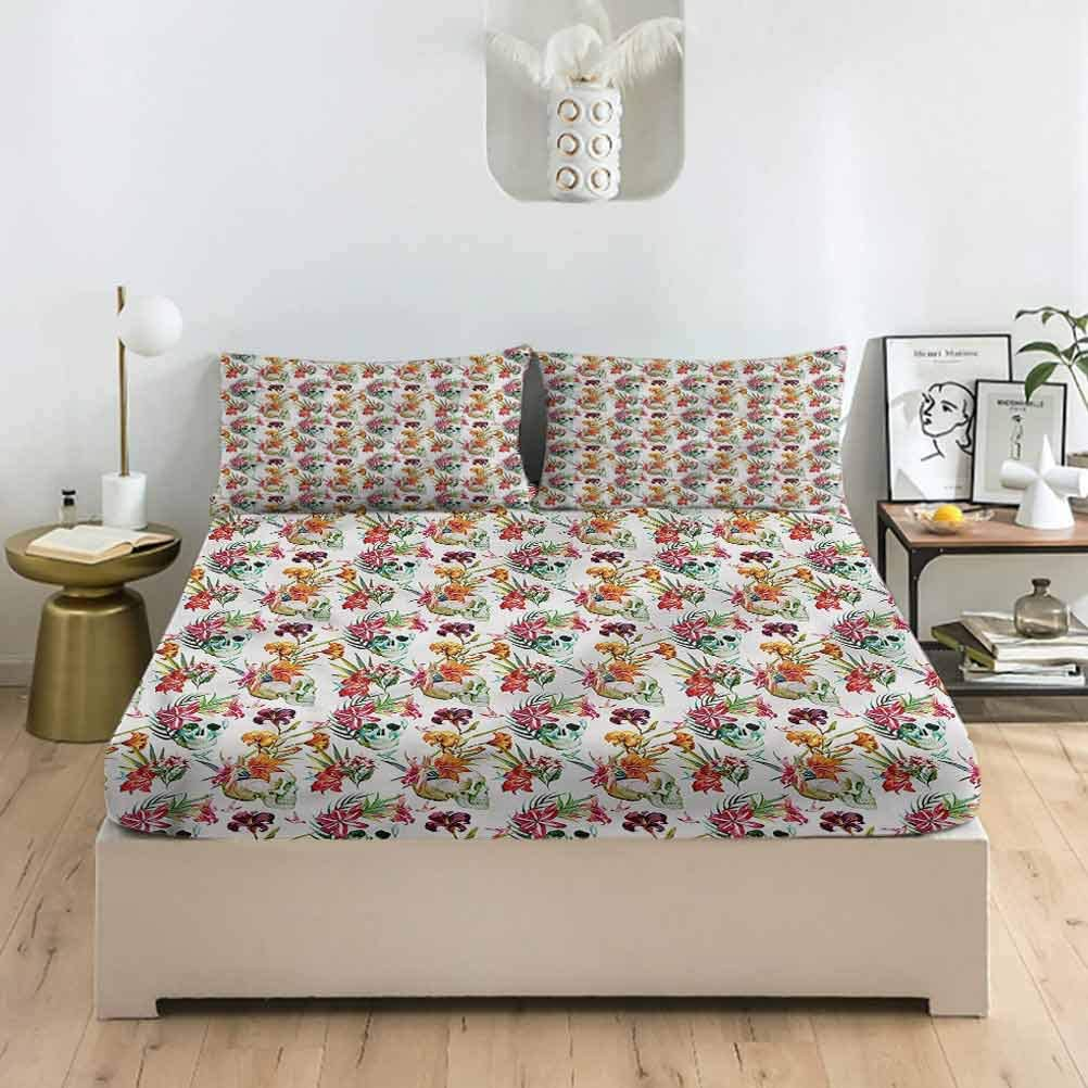 LCGGDB Skull Spring new work Twin XL OFFicial site Size Latino Sheet Fitted Sets Pillowcase