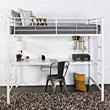 Walker Edison Orion Urban Industrial Twin over Workspace Metal Bunk Bed, Twin Size, White