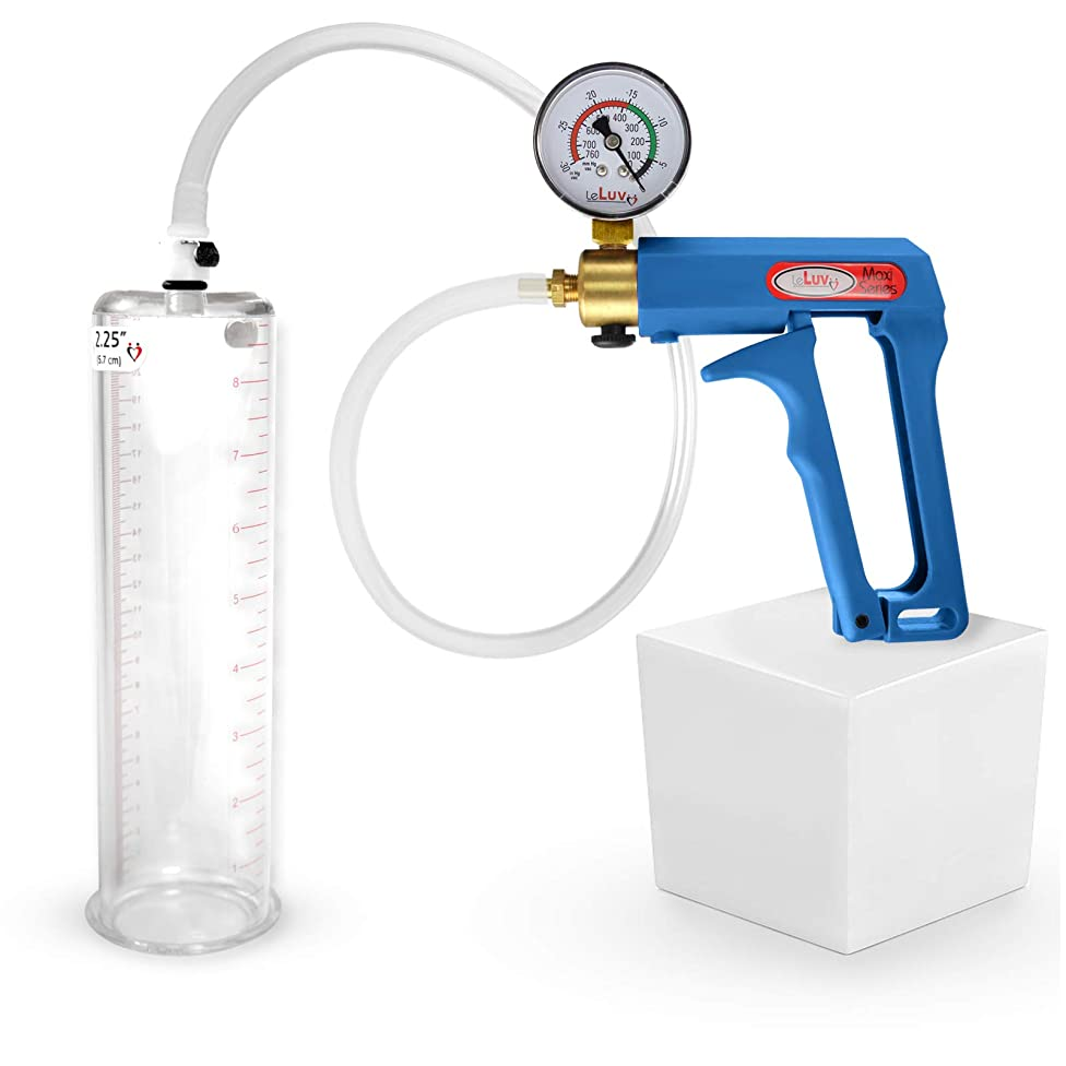 LeLuv Maxi Blue Plus Vacuum Gauge Penis Pump 9 x 2.25 Inch Cylinder