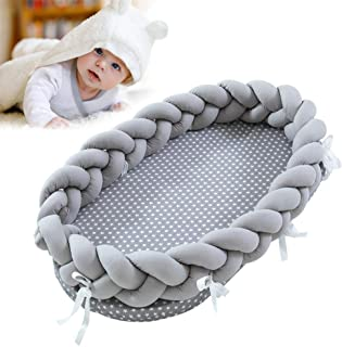 Baby Lounger for Newborn, Hamkaw Portable Super Soft Organic Cotton and Breathable Baby Nest, Removable Cover Newborn Lounger