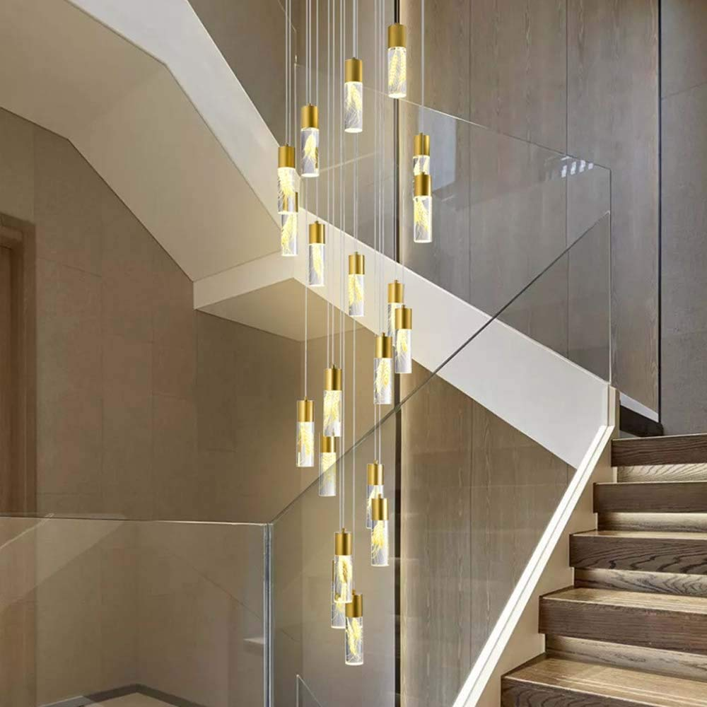 KAAK Lámparas De Techo Nórdica Escaleras Trigo Atmósfera Creativa LED De Larga Araña De Ático En La Planta Villa Escalera De Caracol Araña De 50x223cm Brilliant Life: Amazon.es: Hogar