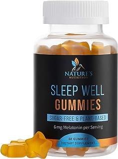 Melatonin Gummies Extra Strength Sleep Gummy Vitamins 6mg, Natural Sugar-Free Sleeping Gummies for Adults and Kids - Vegan...