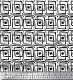 Soimoi Weiß Seide Stoff Square & Blumen Block Stoff