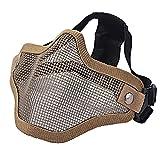 Ecloud Shop® Máscara táctica de Airsoft El Delantero de Acero de Malla metálica Inferior la Media mascarilla (Camuflaje Amarillo)