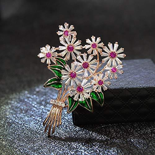 XKMY Pulsera de ramillete de muñeca de rosas con circonita cúbica para mujer, alfiler de boda, hermosa joyería brillante, 2 colores disponibles (color metálico: rosa)
