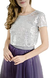 Heypen Womens Sparkly Sequins Tops Shimmer Glam Sequined Party Blouse Jackets