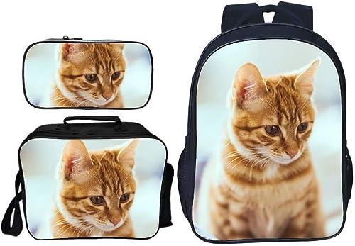 HTT& Sch Katze Canvas-Rucksack für Schüler, 3 Stück Beil ig Schulbüchertasche, Tagesrucksack + Lunchpaket Schultertaschen + Federm chen zum Jungen mädchen,F