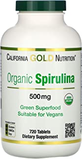 California Gold Nutrition Spirulina USDA Certified Organic Vegetarian 500 mg 720 Tablets, Egg-Free, Fish-Free, Gluten-Free...