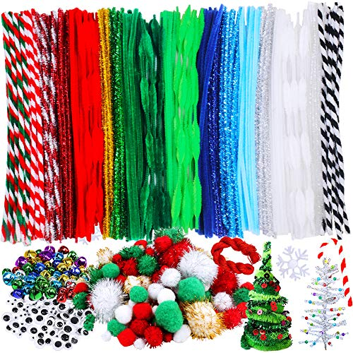 515 Pieces Christmas Pipe Cleaners Sets, Including 210 Pcs Pipe Cleaners, 154 Pcs Pom Poms,100 Pcs Wiggle Eyes and 50 Pcs Mixed Color Jingle Bells for Festival Decoration DIY Craft