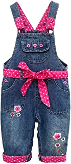 Sponsored Ad - Peacolate 3M-3Years Baby Girls Infant Toddlers Denim Overalls Bib Pants Jeans