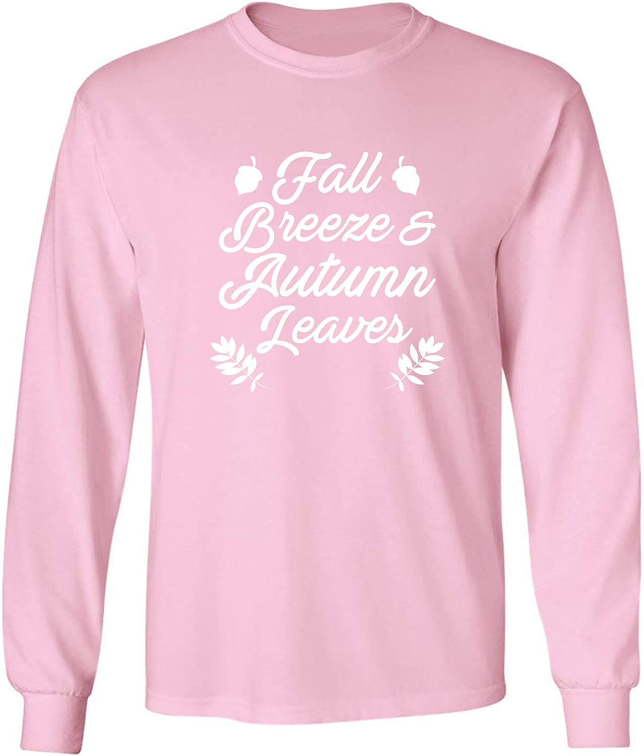 Fall Breeze & Autumn Leaves Adult Long Sleeve T-Shirt in Pink - XXXX-Large