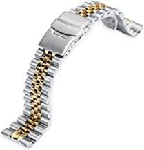 22mm Super 3D Jubilee 316L SS Watch Bracelet for Seiko New Turtles SRP775, 2-Tone IP Gold