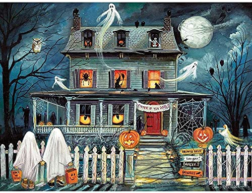 """Bits and Pieces - 500 Piece Jigsaw Puzzle for Adults 18"""" x 24"""" - Enter If You Dare - 500 pc Haunted House Halloween Trick or Treat Jigsaw by Artist Ruane Manning"""