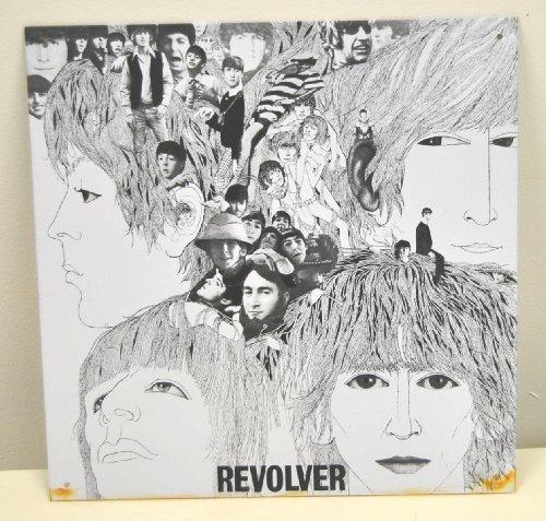 Beatles Plaque murale en métal avec REVOLVER Noir et Blanc