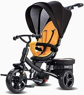 Barn trehjulingar med styrhandtag med justerbar Seat med Canopy Småbarn Bike ( Color : Yellow )