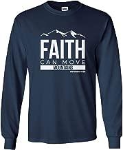 Societee Faith Can Move Mountains Religious Christian Jesus Christ Men's Long Sleeve T-Shirt
