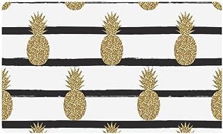 InterestPrint Gold (Not Real) Glitter Pineapples Fruit on Stripes Doormat Anti-Slip Entrance Mat Floor Rug Indoor/Outdoor ...