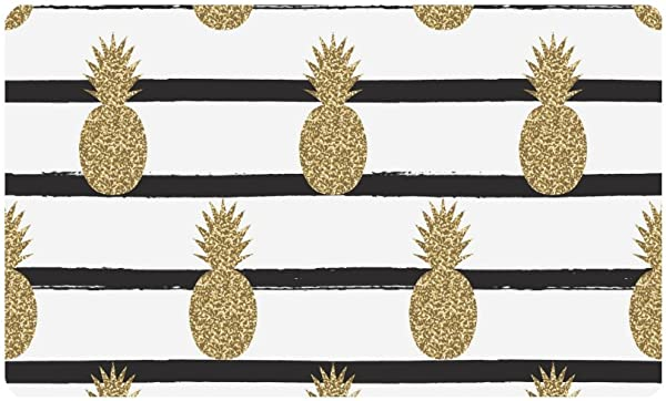 InterestPrint Gold Not Real Glitter Pineapples Fruit On Stripes Doormat Anti Slip Entrance Mat Floor Rug Indoor Outdoor Door Mats Home Decor Rubber Backing Large 30 L X 18 W