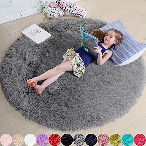 Gray Round Rug for Bedroom,Fluffy Circle Rug 6'X6' for Kids Room,Furry Carpet for Teen's Room,Shaggy Circular Rug for Nursery Room,Fuzzy Plush Rug for Dorm,Grey Carpet,Cute Room Decor for Baby