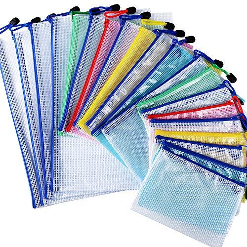 20pcs Carpetas Plástico de Documentos 3 Tamaños A4 A5 A6 Bolsas de Archivo con Cremallera para Papel Accesorios Oficina Escuela Hogar Colores ⭐