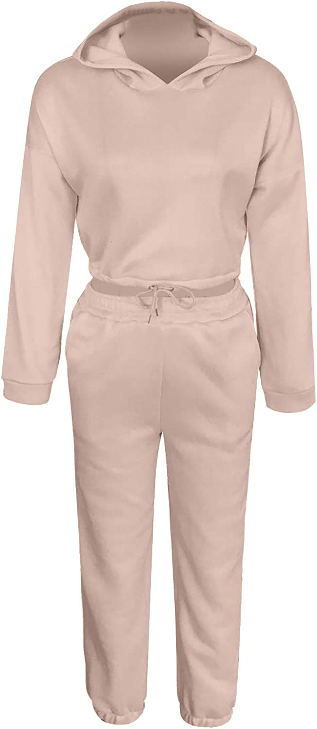 ZL GEQINAI Women's Two Piece Tracksuits Hoodie Pullover Pockets Long Sweatpants Fall/Winter Solid Outsports Sweatsuit