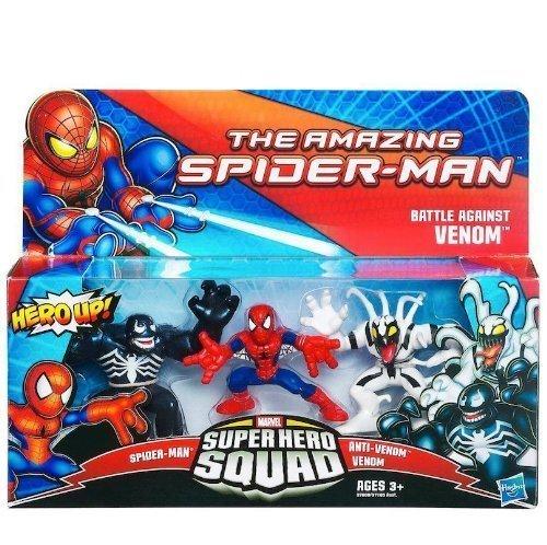 Marvel Super Hero Squad 3 Figurines Set Spiderman Venom & Anti-Venom