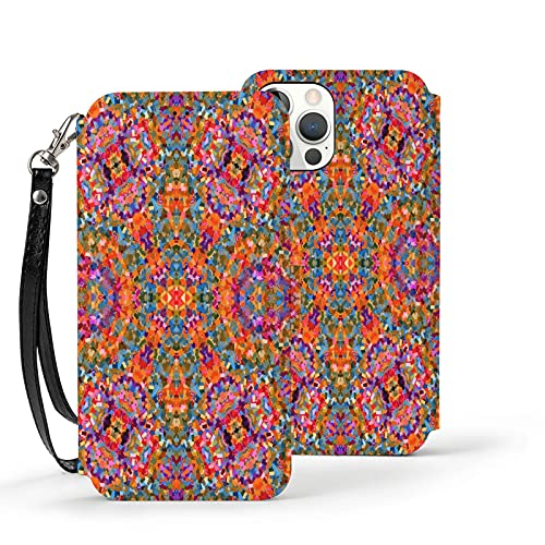 Estuche para iPhone 12,Estuche Tipo Billetera para iPhone 12 con Tarjetero,Patrón de Azulejos Patrón de Color de Flores,Prueba de Golpes de TPU para iPhone 12 de 6.1 Pulgadas