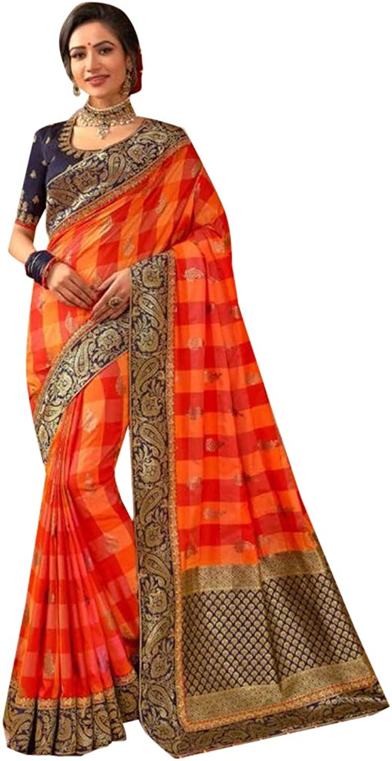 orange Indian Traditional Designer Silk Check Saree with Blouse piece Party wear Sari for Women 7790