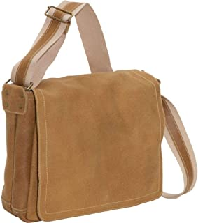 David King Distressed North/South Leather Messenger Bag in Distressed Cafe