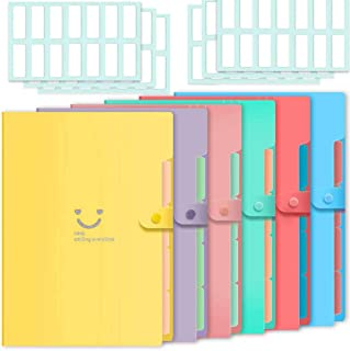 Selizo 6 Pcs Expanding File Folder with 5 Pockets Organizer Plastic A4 Size and 168 Pcs File Folder Labels for School Teac...