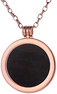 Morella Collana Donna 70 cm Acciaio Inossidabile Oro Rosa con Coins Moneta amuleto Ciondolo Chakra Rotondo 33 mm Gemma Pie...