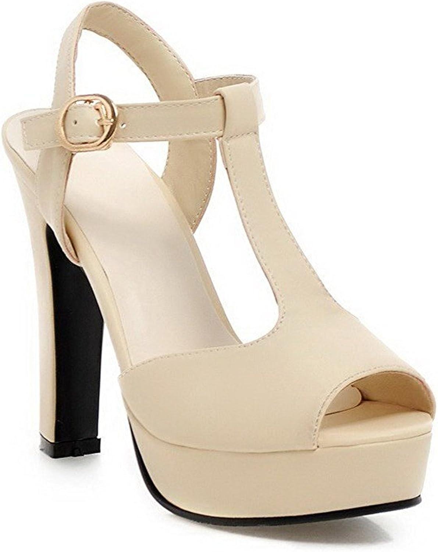 Ompson Women's Soft Material Buckle Peep Toe Platform High-Heels Solid Heeled-Sandals