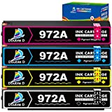 Double D Compatible HP 972A 972 Ink Cartridge, Work for HP Pagewide Pro 477dw 377dw 477dn 577dw 377dn 577z 452dn 452dw 552dw P55250dw P57750dw (1 Each of BK C M Y) 4PK -Updated Chip