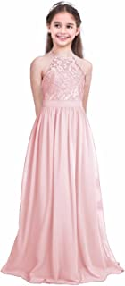 FEESHOW Girls' Halter-Neck Floral Lace Junior Bridesmaid Dress Party Wedding Long Gown