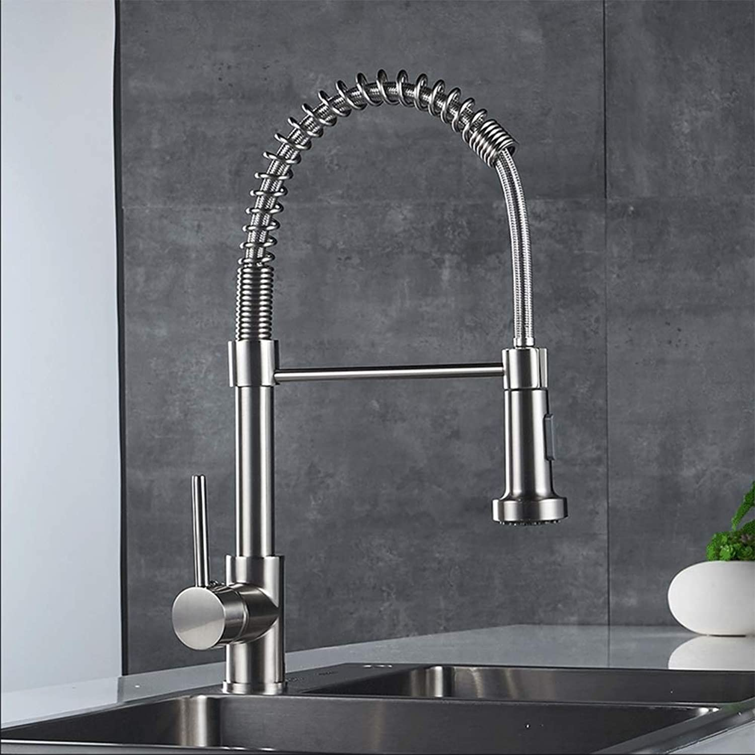 ZMHome Kitchen Faucet Spring Style Pull Out All Around Swivel 2 Function Water Outlet Kitchen Mixer Taps,ChromeBrushed
