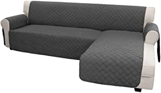 Best Easy-Going Sofa Slipcover L Shape Sofa Cover Sectional Couch Cover Chaise Lounge Slip Cover Reversible Sofa Cover Furniture Protector Cover for Pets Kids Children Dog Cat (Large,Dark Gray/Dark Gray) Review