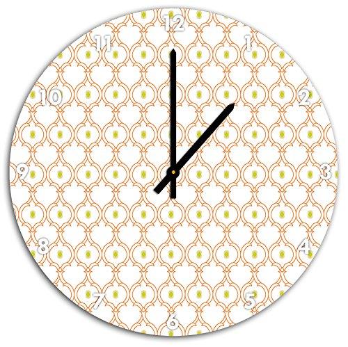 Motif vigne entrelacée avec noyau vert, horloge murale diamètre 48 cm avec aiguilles et cadran pointus noirs, article décoratif, horloge design, composite alu très belle pour le séjour, la chambre d'enfant, le bureau