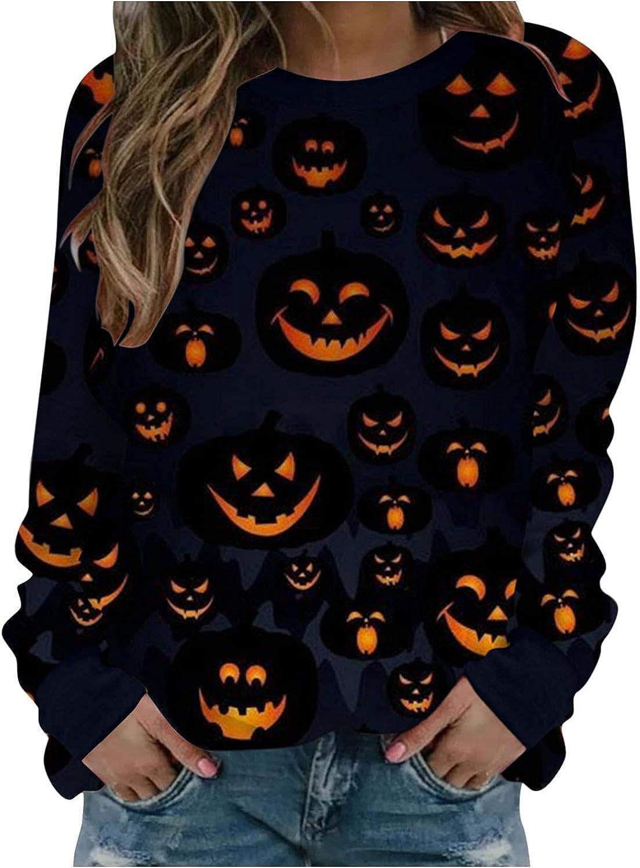 AIHOU Halloween Pumpkin Sweatshirt for Women Funny Graphic Sweatshirts Vintage Long Sleeve Crewneck Sweatshirts Top