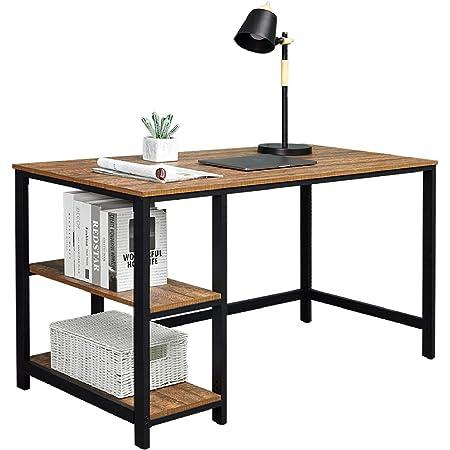 Meerveil Bureau D'ordinateur, Table Informatique, Table d'étude, 120 x 60 x 75cm, Table Ordinateur Vintage avec 2 étagères, Grain de Bois Antique, Table de Travail Ordinateur Portable
