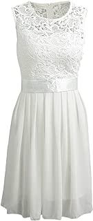 Summer Lady Lace Dress Women Chiffon Dress Sleeveless O Neck Wedding Party Dress
